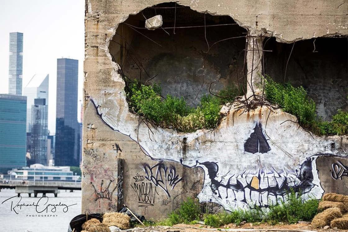 Skull Mural – A street artist turns an abandoned building into a giant skull