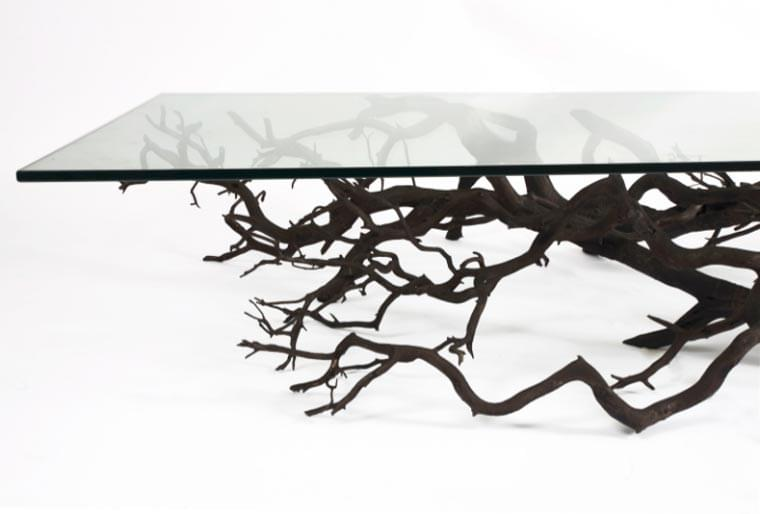 Beautiful With Just Black Paint And Glass Plates, These Branches Found A Second Life  In The Form Of Shelves Or Even Coffee Tables. Simply Gorgeous!